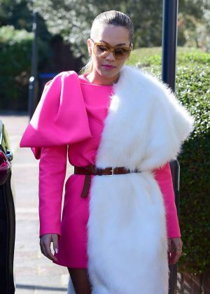 Rita Ora in Pink Dress out in London