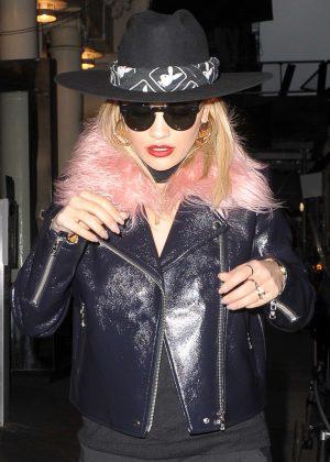 Rita Ora in pink fur out in Soho