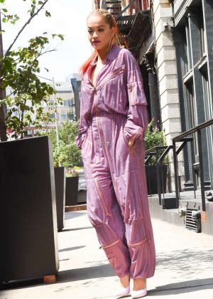 Rita Ora in Purple Jumpsuit in New York