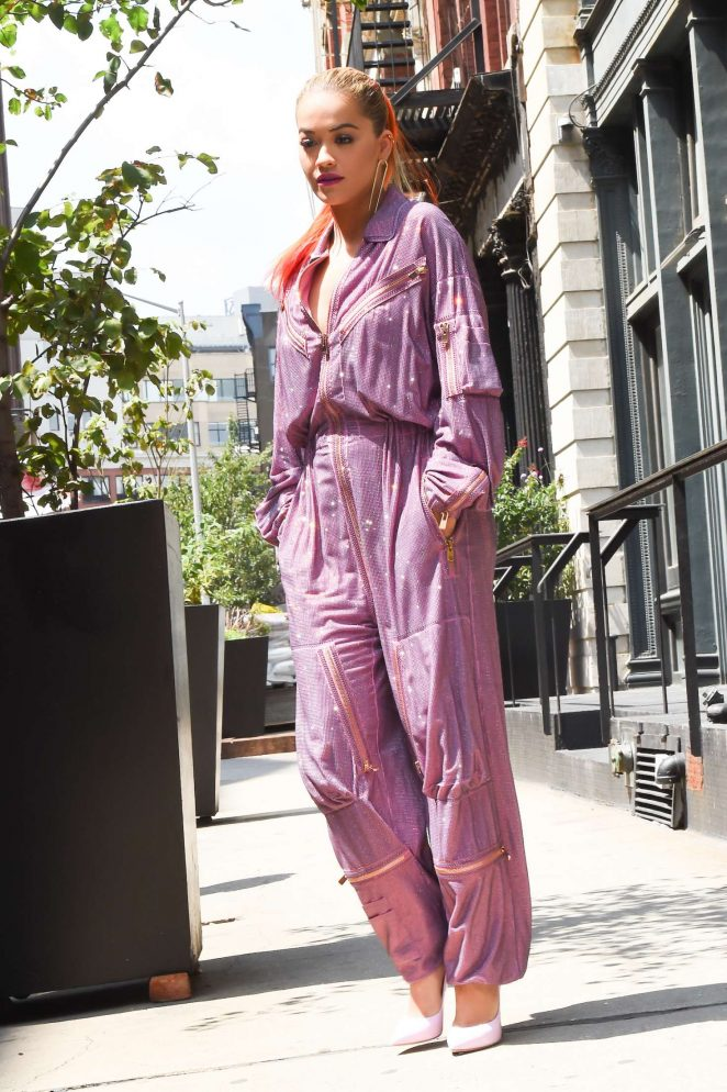 Rita Ora in Purple Jumpsuit in New York