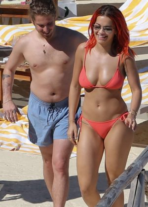 Rita Ora in Red Bikini at the beach in Tuscany