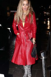 Rita Ora in Red Leather Coat at Nobu Restaurant in London