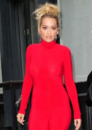 Rita Ora in Red Leaving her Apartment in NYC