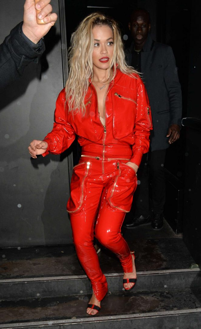 Rita Ora in Red - Leaving her private gig in Paris