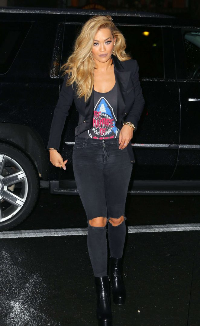 Rita Ora in Ripped Jeans going to dinner in New York