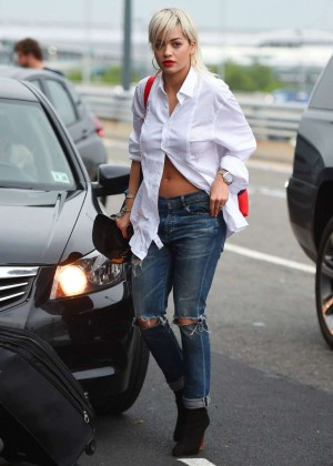 Rita Ora in Ripped Jeans Out in NYC