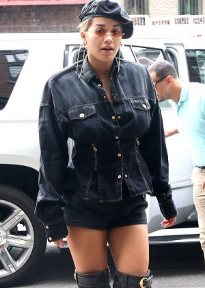 Rita Ora in Shorts - Leaving her hotel in New York City