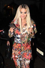 Rita Ora in Striking Graffiti Style Jumpsuit - Leaving her apartment in London