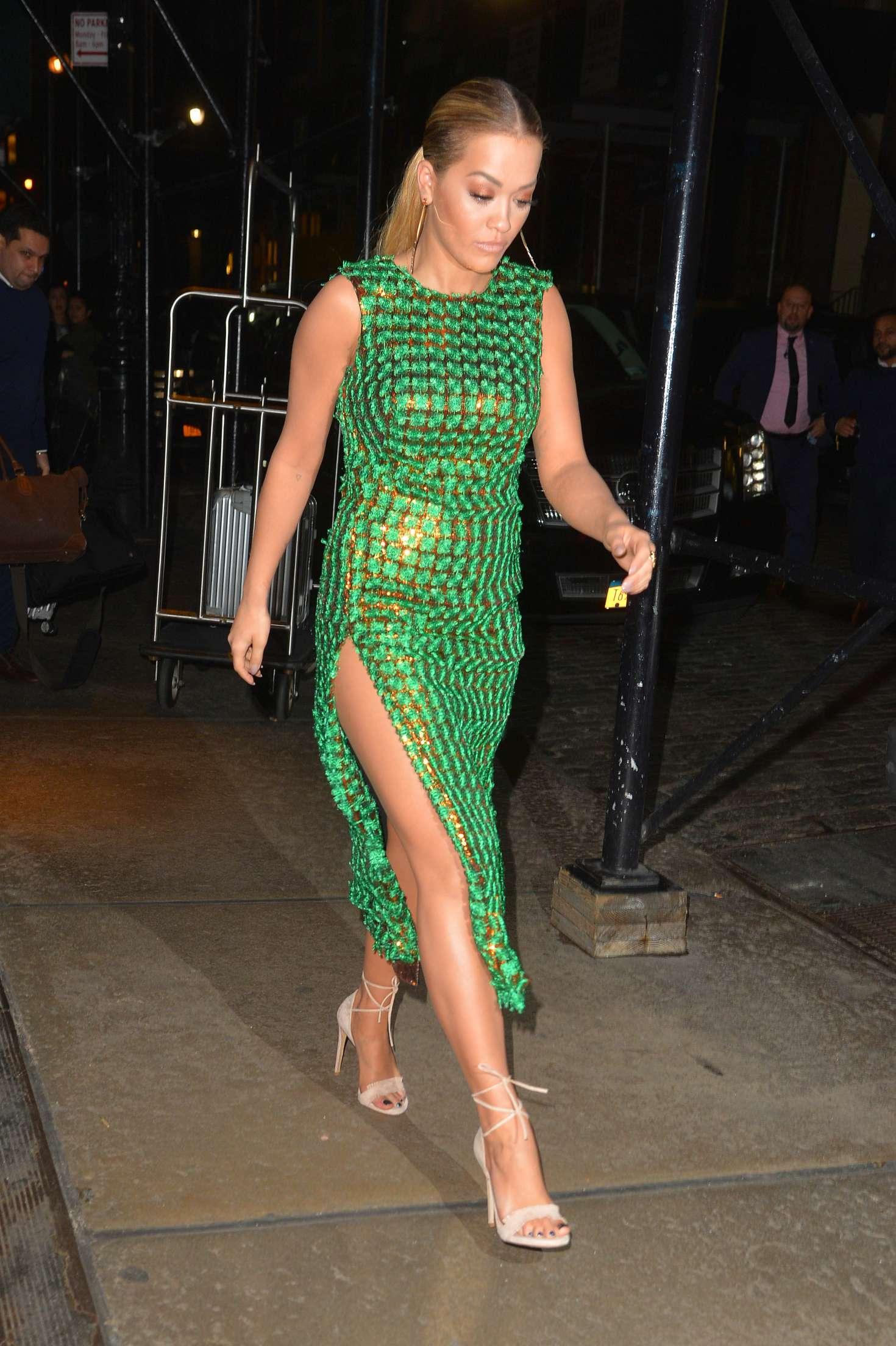 Rita Ora in tight green dress -04 - GotCeleb