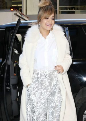 Rita Ora in White Coat - Out and about in New York City