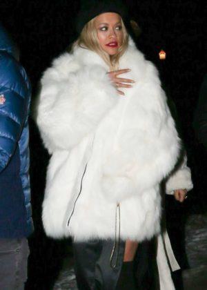 Rita Ora in White Fur Coat - Night out in Aspen