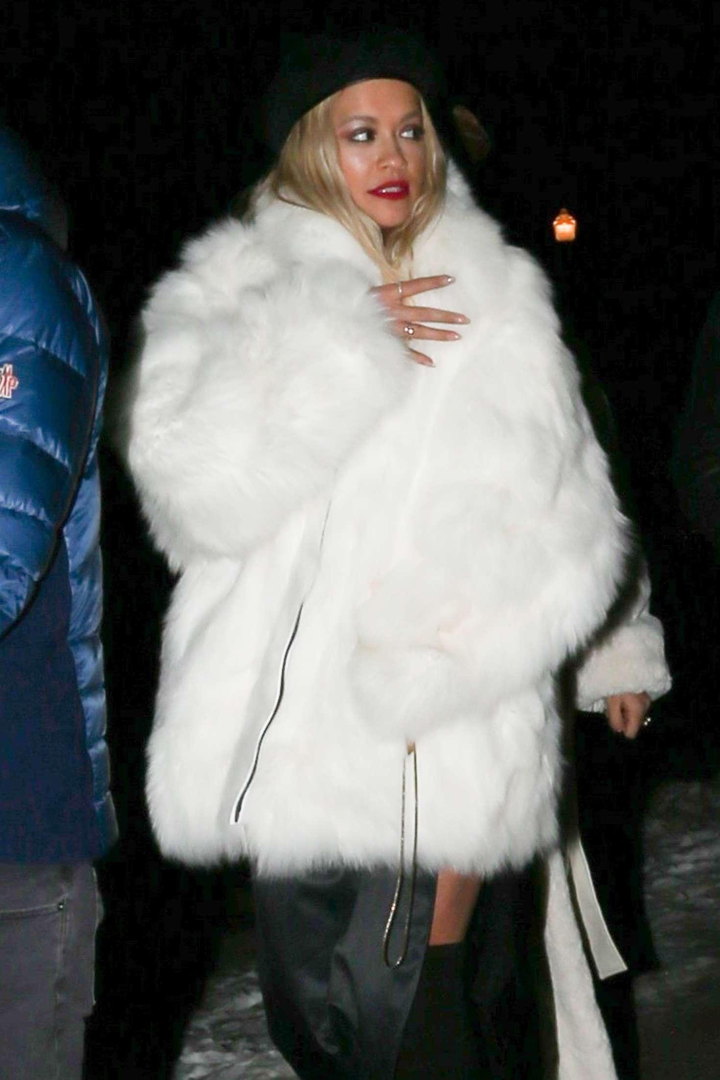 Rita Ora In White Fur Coat Night Out In Aspen Gotceleb