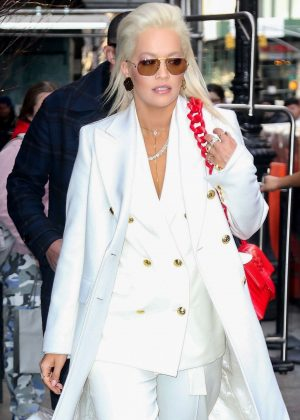 Rita Ora in White Outfit - Out in New York