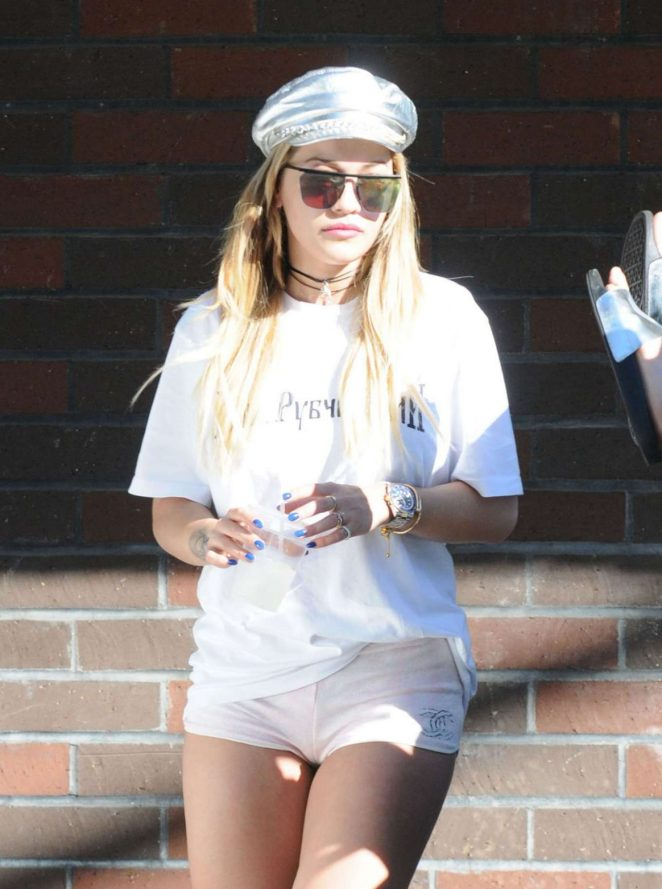 Rita Ora in White Shorts -07