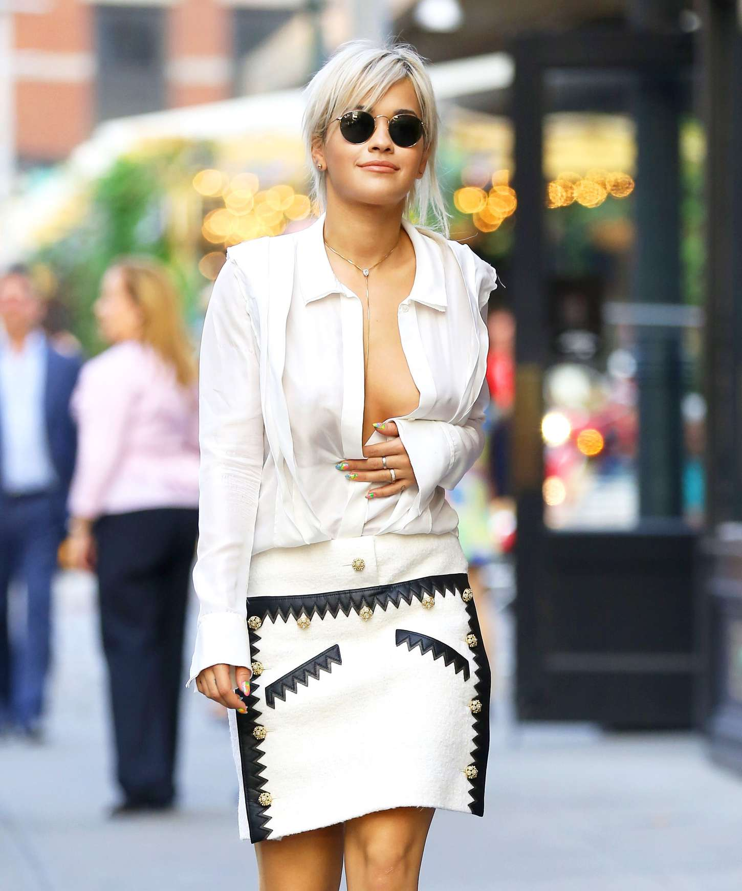 Rita Ora In White Skirt Out In New York Gotceleb