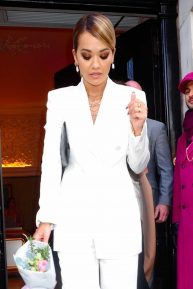 Rita Ora in White Suit - Outside Annabel's in London