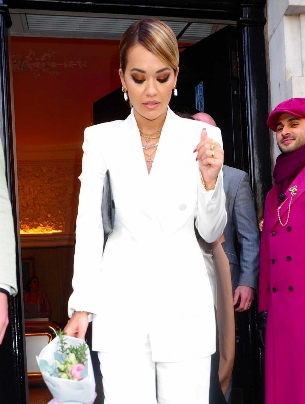 Rita Ora in White Suit - Outside Annabel's in London