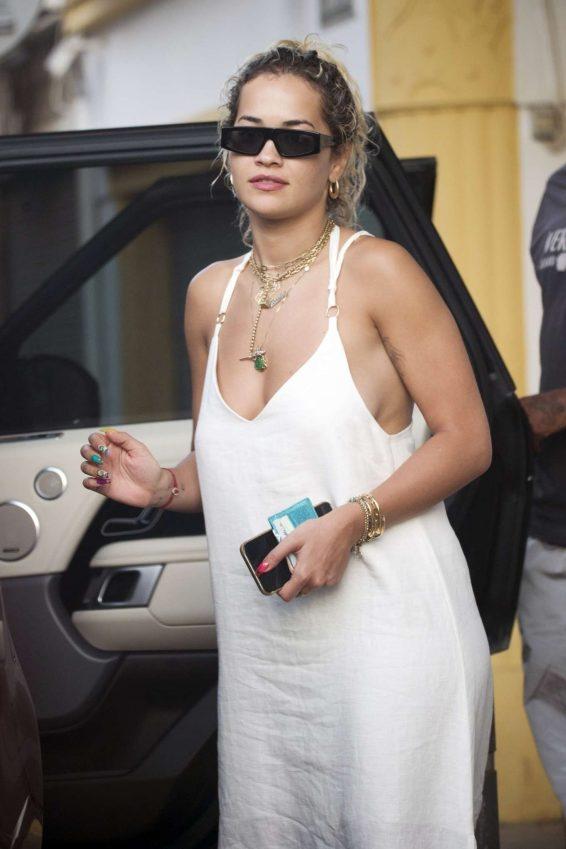 Rita Ora in White Summer Dress - Shopping in Ibiza