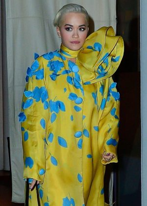 Rita Ora in Yellow and Blue Dress - Leaves the Mercer Hotel in NY