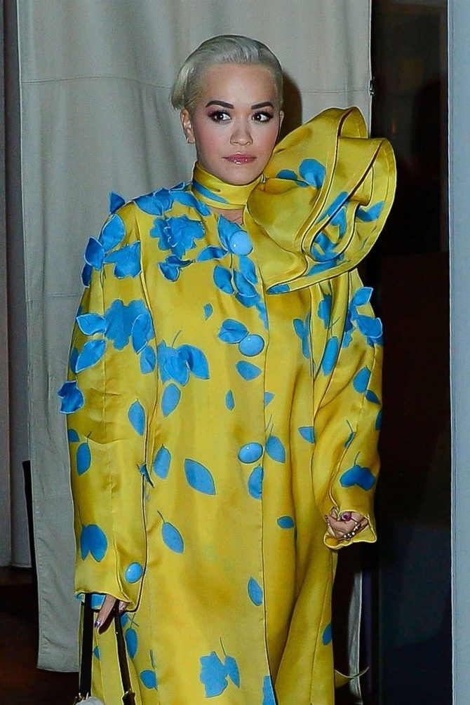 Rita Ora in Yellow and Blue Dress – Leaves the Mercer Hotel in NY