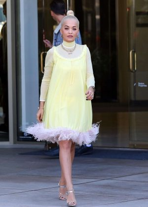 Rita Ora in Yellow Dress - Out in Los Angeles