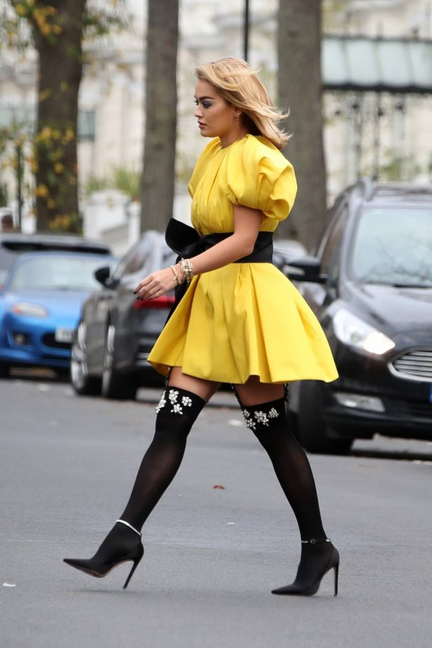 Rita Ora - In yellow mini dress out in London