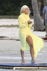Rita Ora in Yellow - Shooting a video in Miami