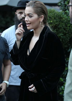 Rita Ora leaves her hotel in Milan