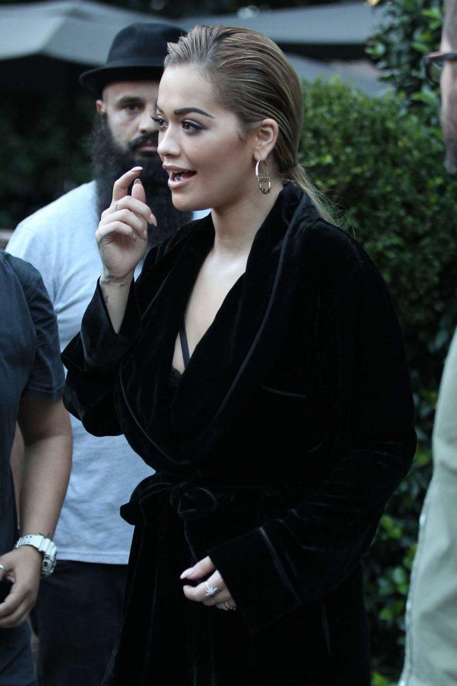 Rita Ora leaves her hotel in Milan