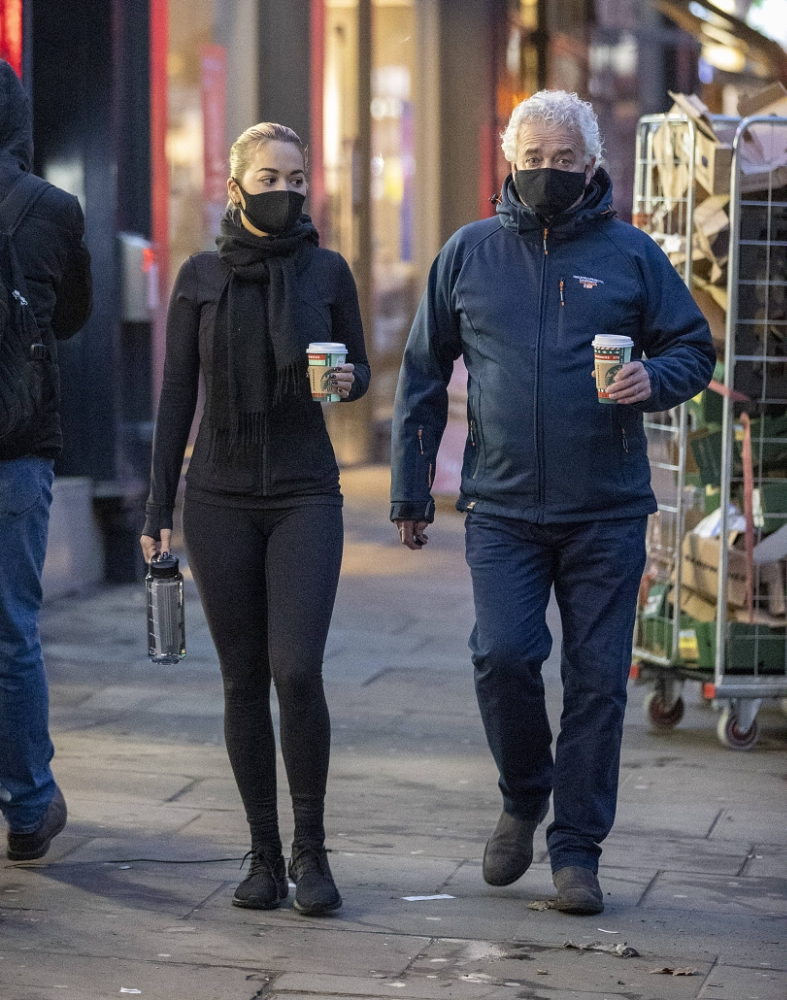 Rita Ora - Leaving a coffee shop with her father in Kensington