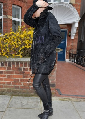 Rita Ora in Leather Pants Leaving her home in London