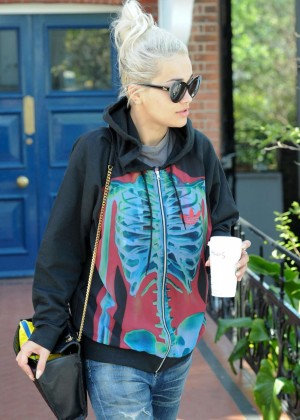 Rita Ora in Jeans Leaving Her Home in London