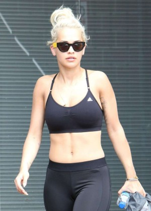 Rita Ora in Tights and Sports Bra out in Los Angeles
