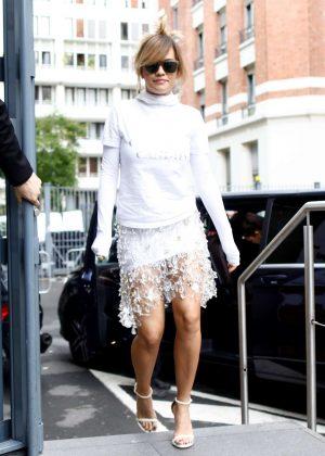 Rita Ora - Leaving the Four Seasons George V Hotel in Paris