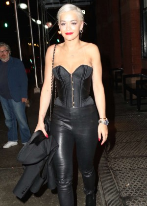 Rita Ora in Leather Night out in NYC