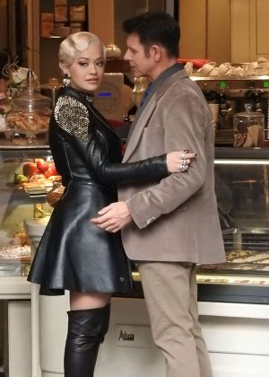 Rita Ora on Set 'Wonderwell' in San Gimignano