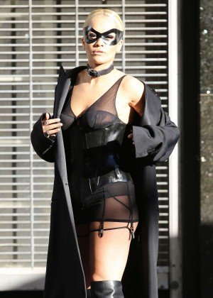 Rita Ora on the set of a photoshoot in NY