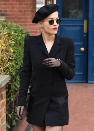Rita Ora in Black Mini Coat Out in London