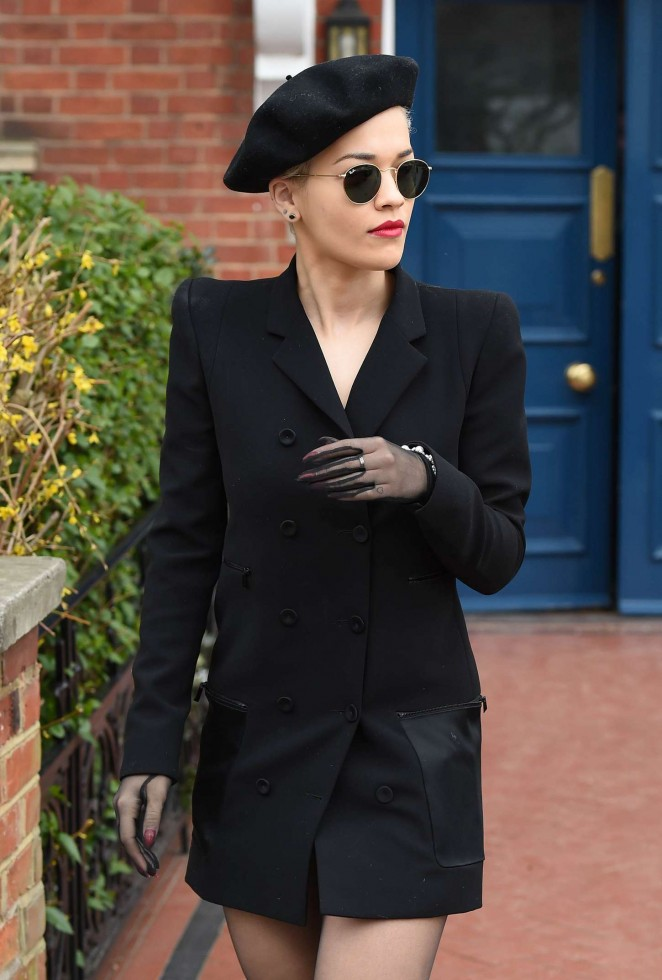 Rita Ora in Black Mini Coat Out in London