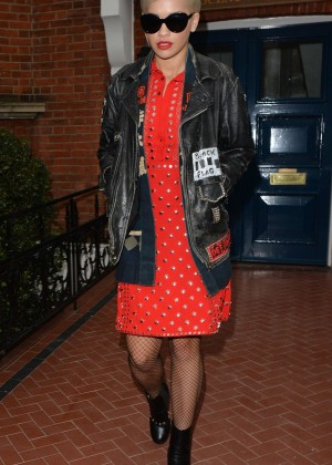Rita Ora in Red Dress Out in London