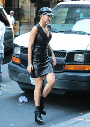 Rita Ora in Leather Dress out in NYC