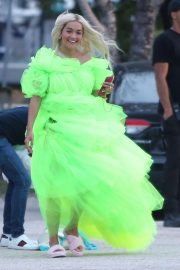 Rita Ora - Shooting a Deichmann Collection ad in Miami
