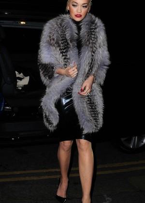 Rita Ora in Fur Coat - Stepping out in London