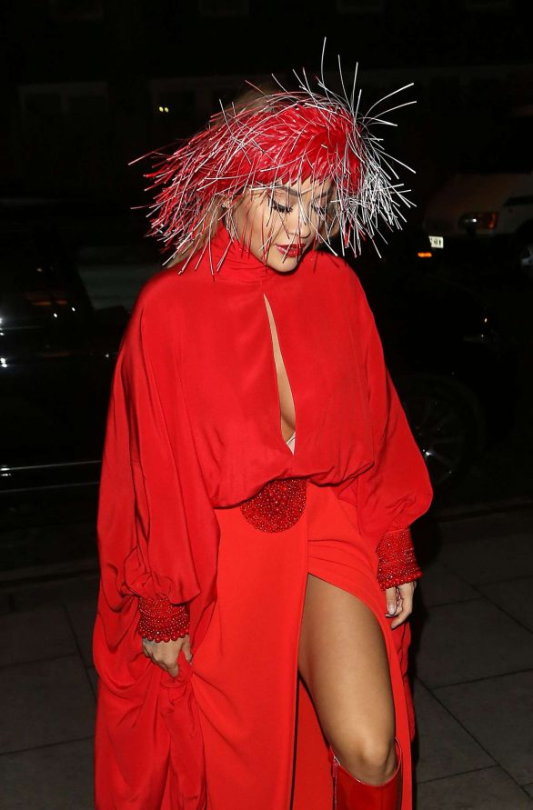 Rita Ora - Stylish in red at The Chiltern Firehouse in London