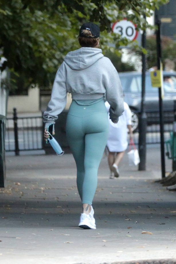 Rita Ora - Wearing a green leggings in Notting Hill