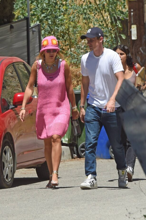 Rita Ora - wearing a pink Prada dress as she is spotted out and about in Los Angeles