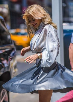 Rita Ora - Wearing a silver Nina Ricci dress in New York City