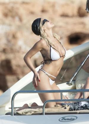 Rita Ora in White Bikini in Ibiza