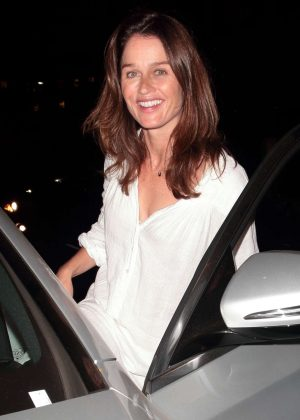 Robin Tunney at Madeo restaurant in Beverly Hills