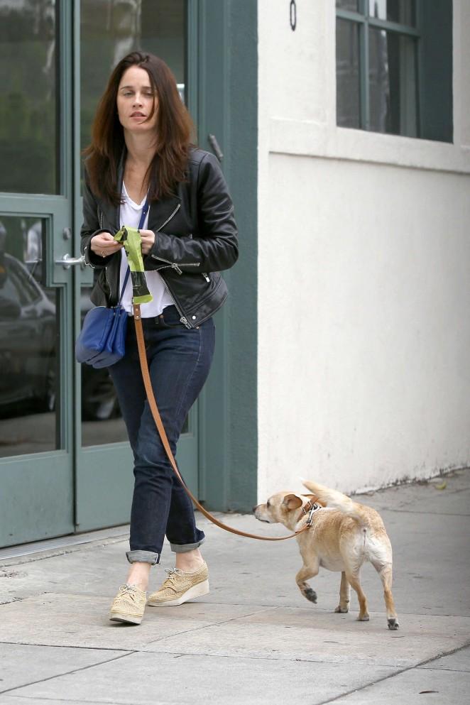Robin Tunney – Walking her dog in LA